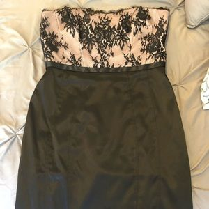 Stunning black, pale pink, & lace cocktail dress